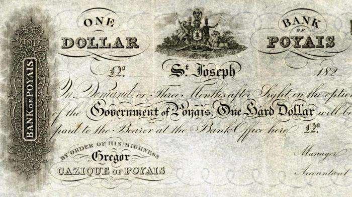 Банкнота в 1 доллар вымышленного государства Пояис.